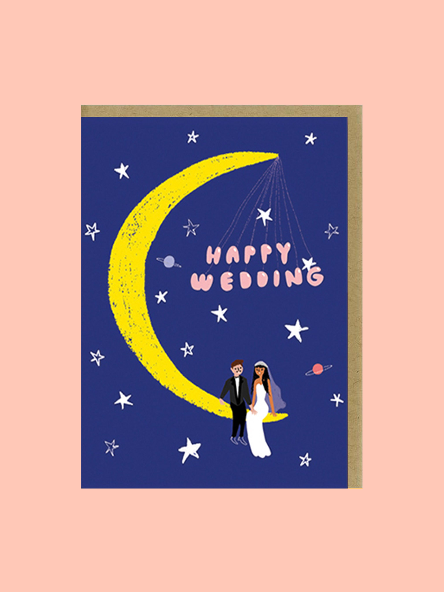 Klappkarte Happy Wedding Mond