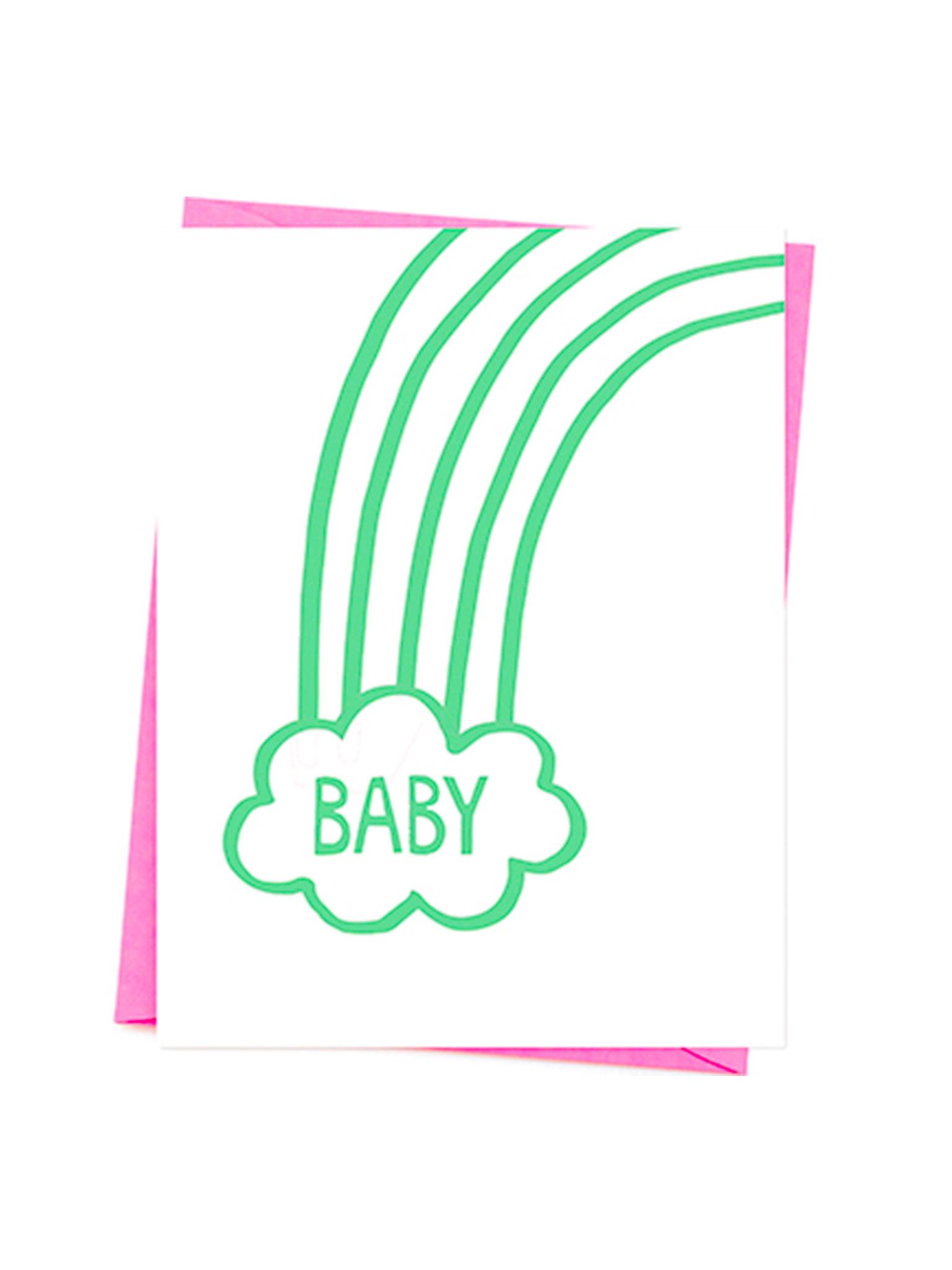 Klappkarte Baby Regenbogen