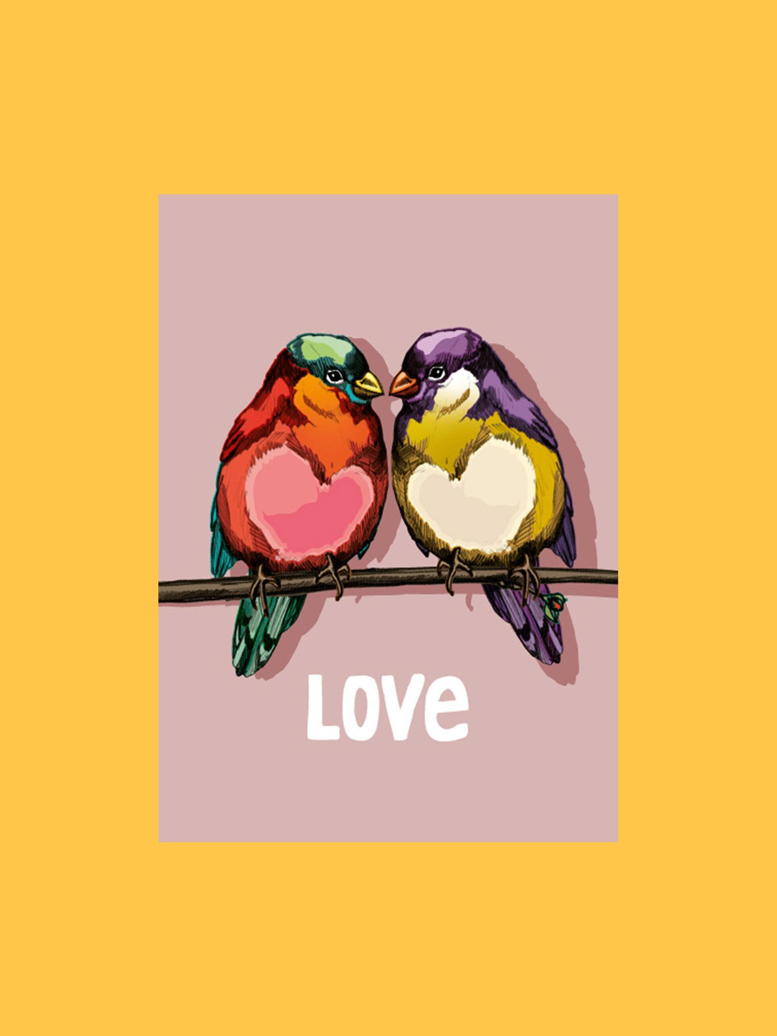 Postkarte Love Vögel