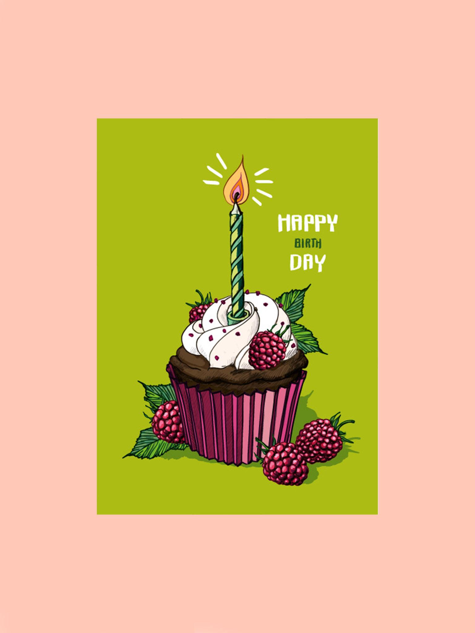 Postkarte Happy Birthday Cupcake Grün