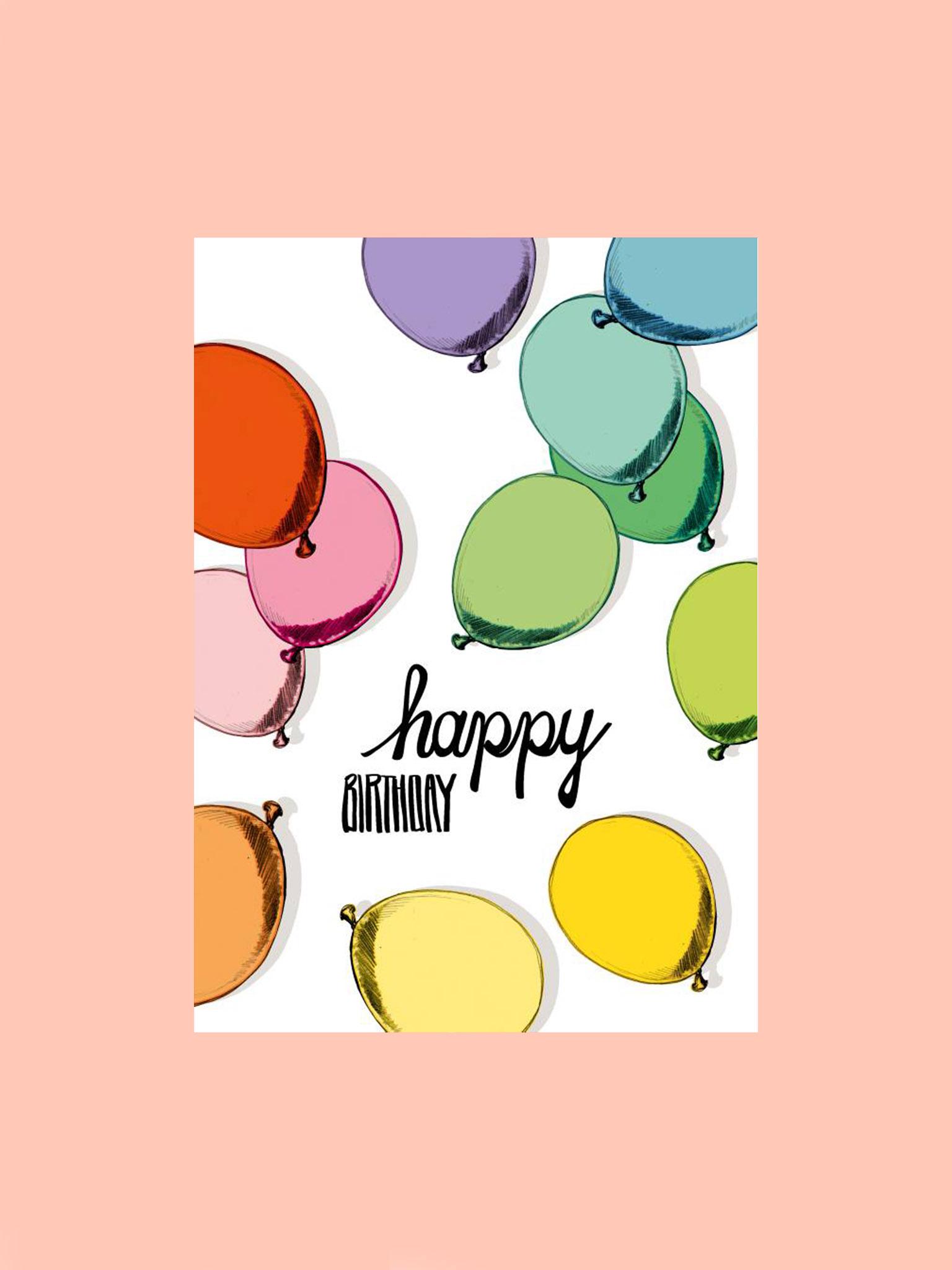 Postkarte Happy Birthday Luftballons