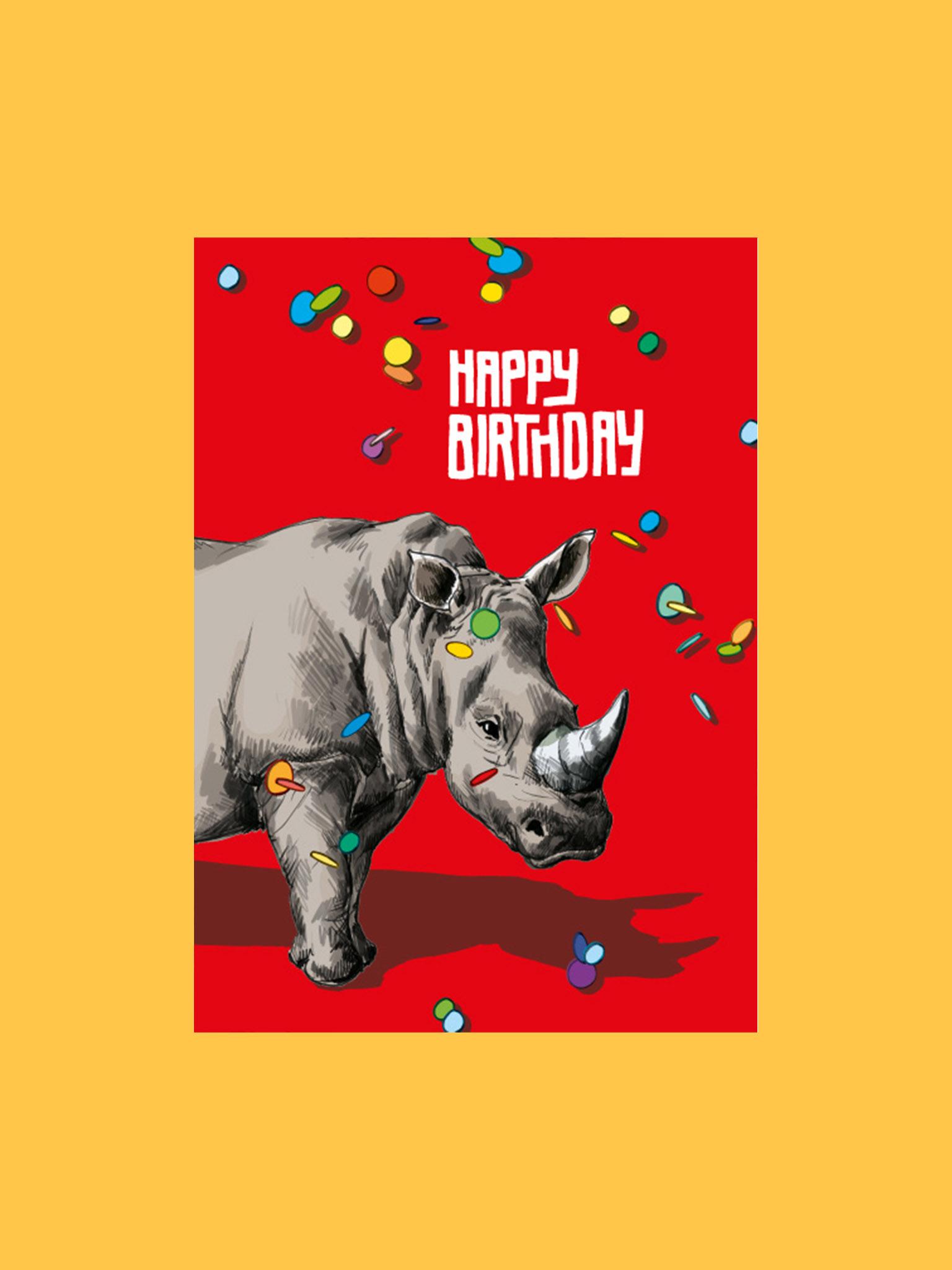 Postkarte Happy Birthday Nashorn
