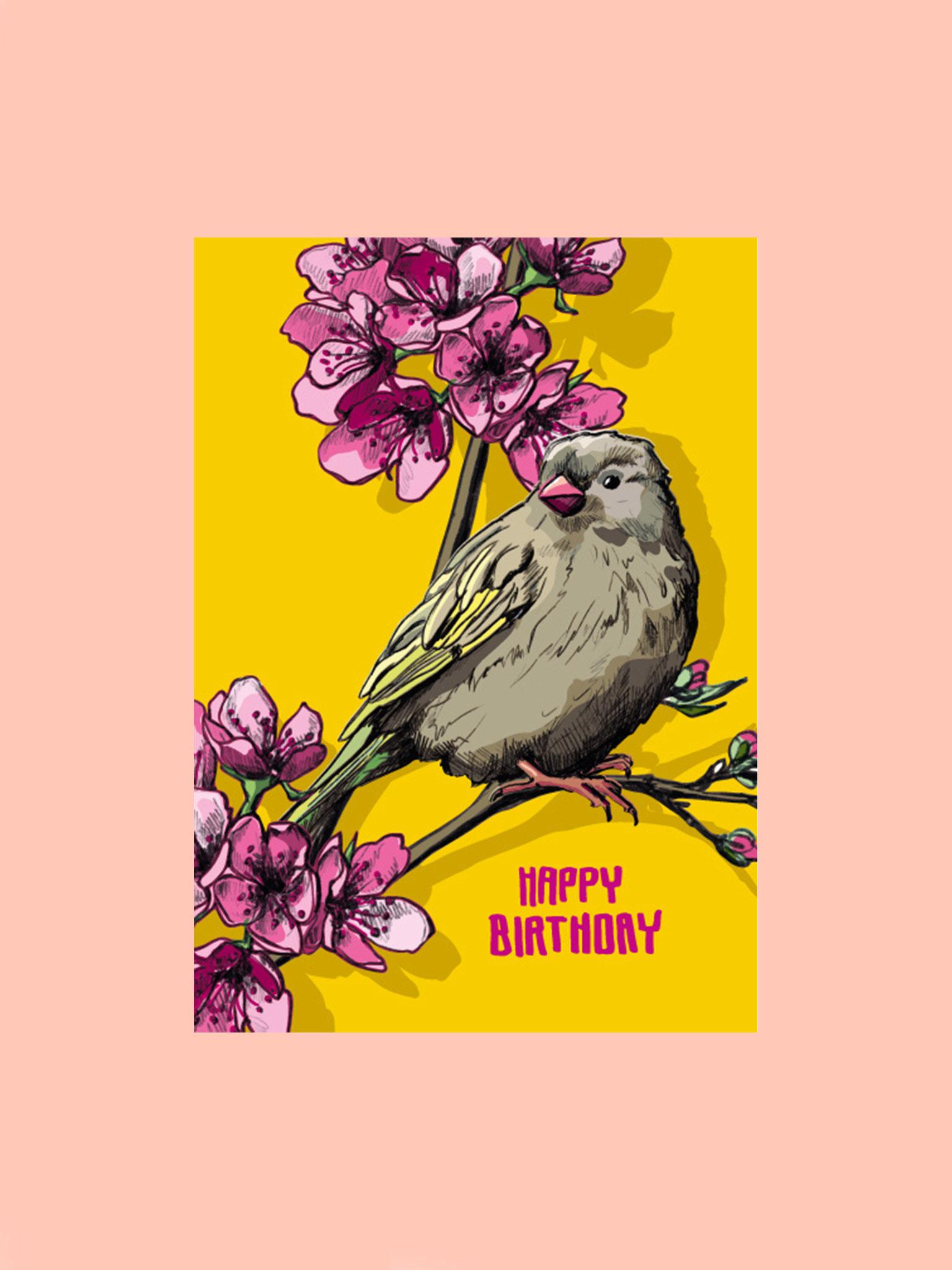 Postkarte Happy Birthday Vogel gelb/lila