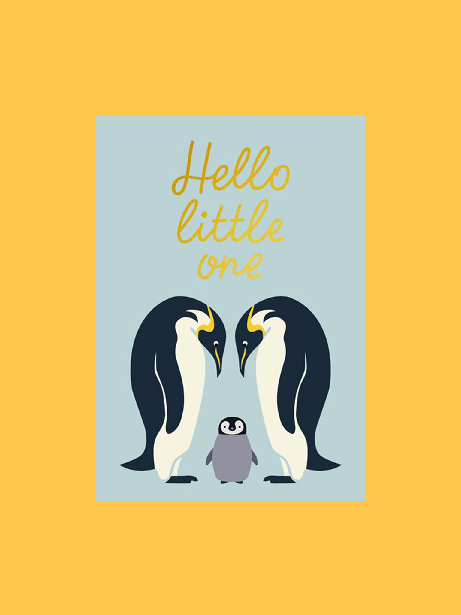 Postkarte Hello Little One Pinguin