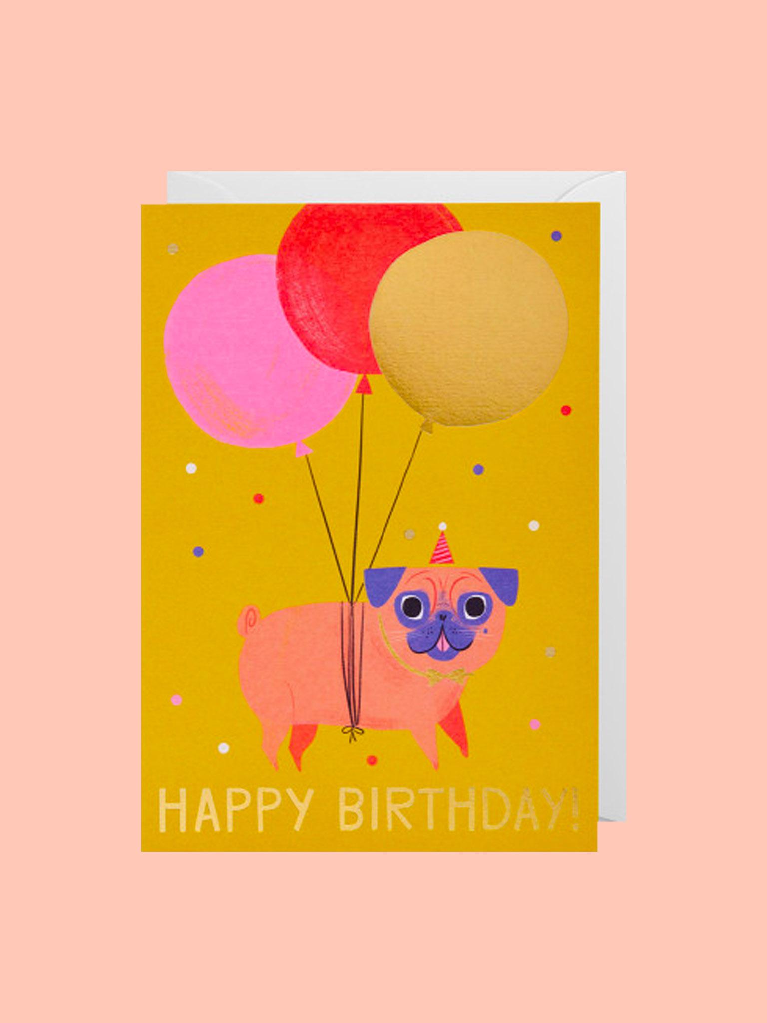 Klappkarte Happy Birthday Hund Balloon