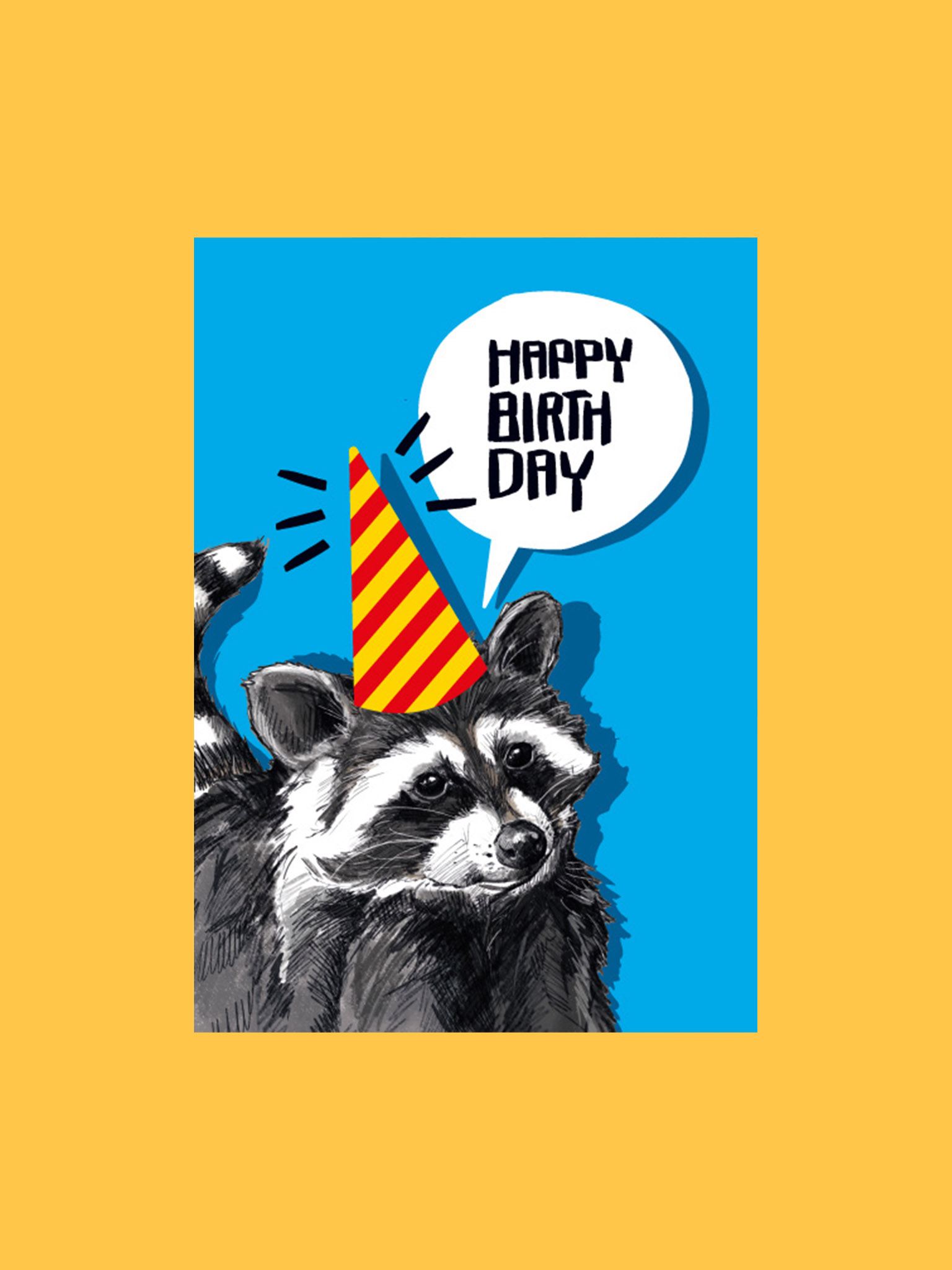 Postkarte Happy Birthday Waschbär