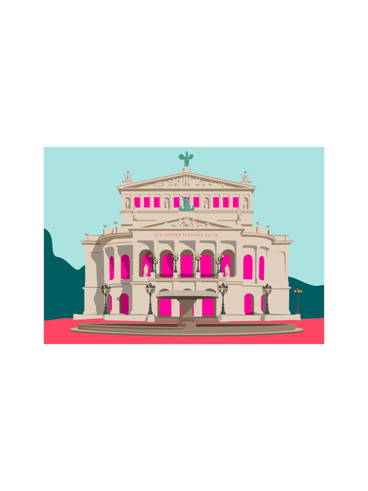 Postkarte Frankfurt Alte Oper
