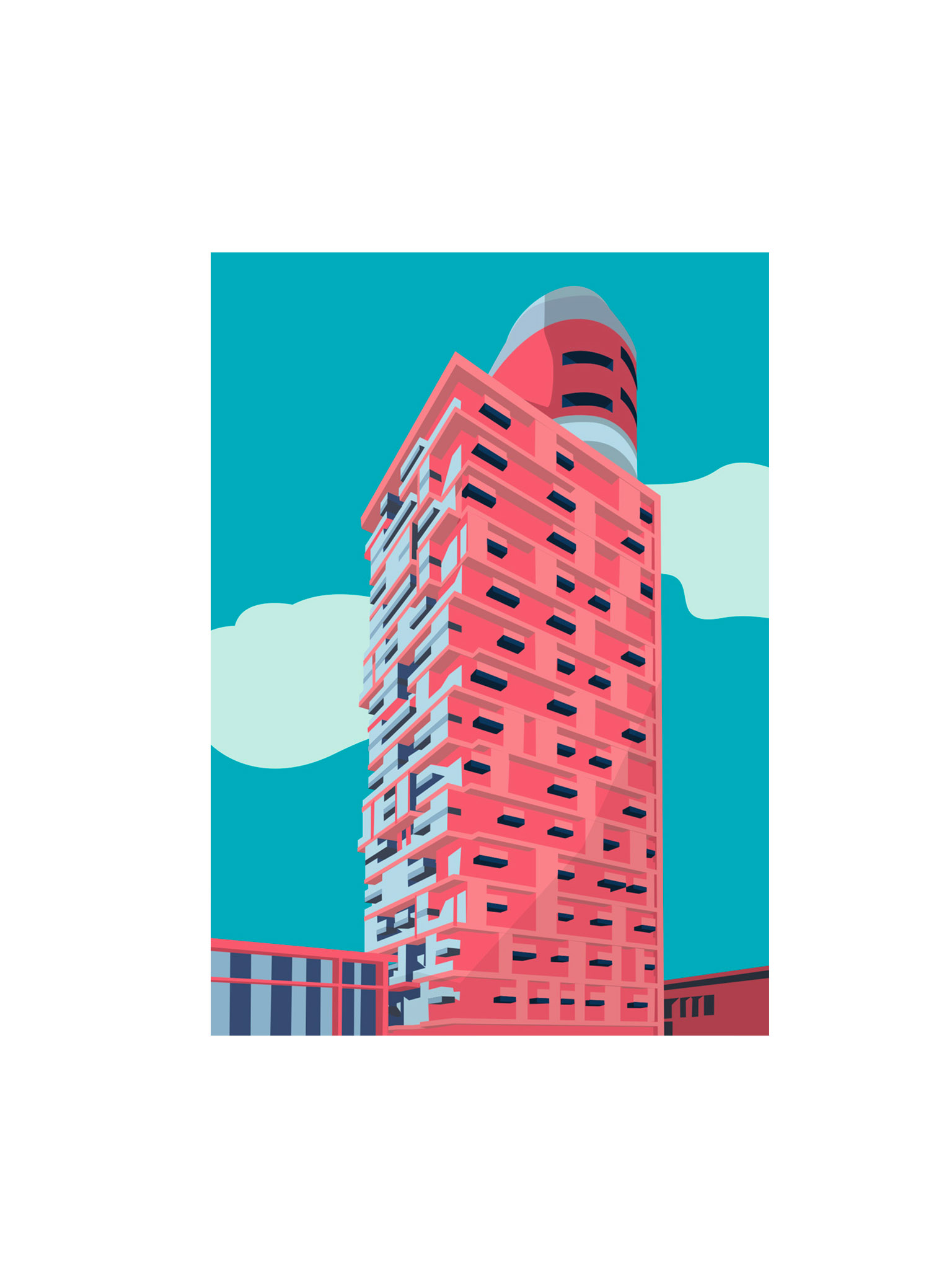 Postkarte Frankfurt Henninger Turm