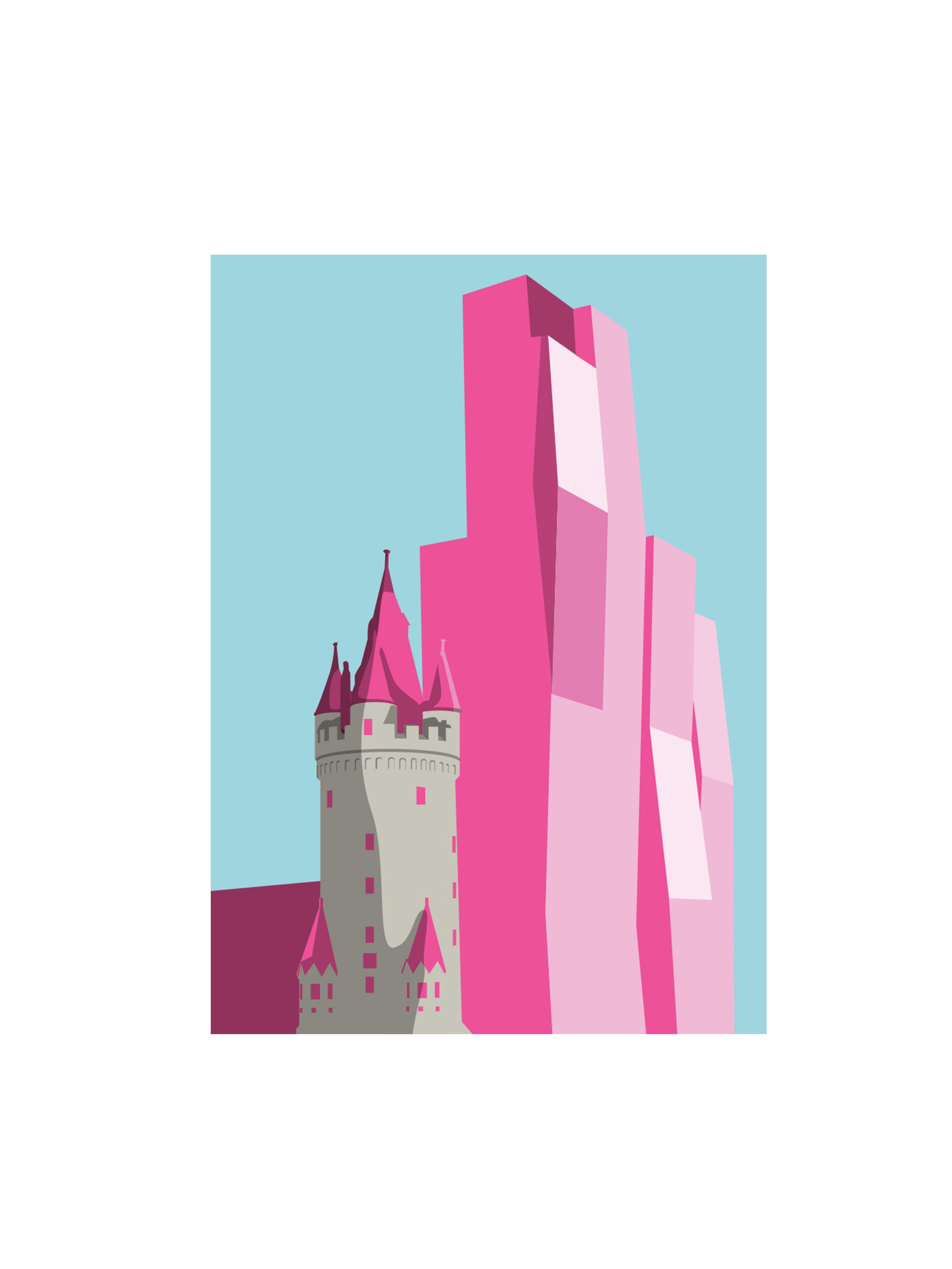 Postkarte Frankfurt Eschenheimer Turm vor Nexttower