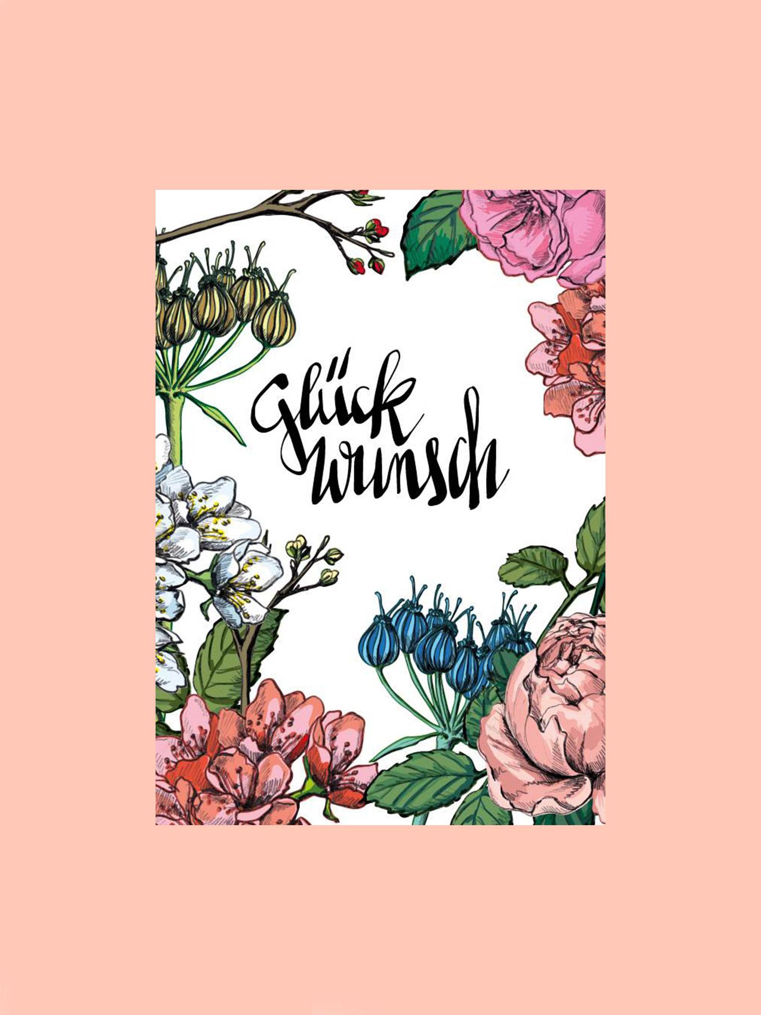 Postkarten Glückwunsch Blumen Pastell