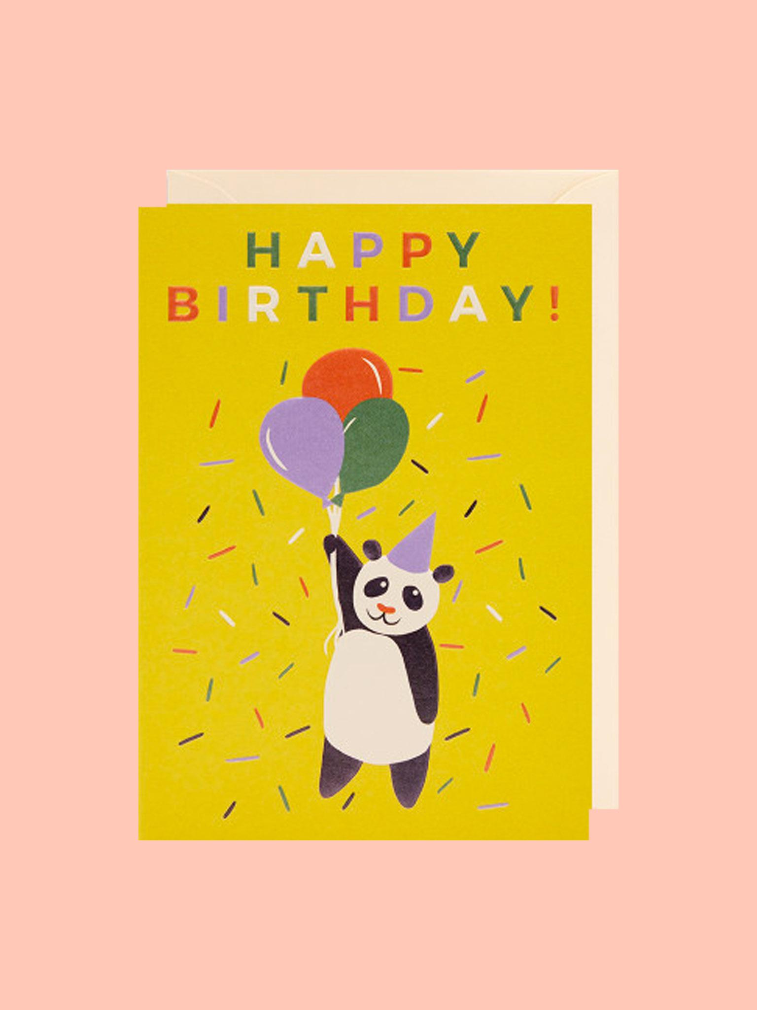 Klappkarte Happy Birthday Panda Balloon