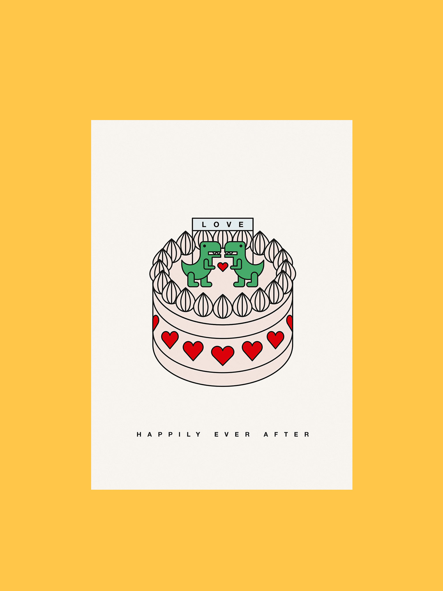Postkarte Happily Ever After Torte