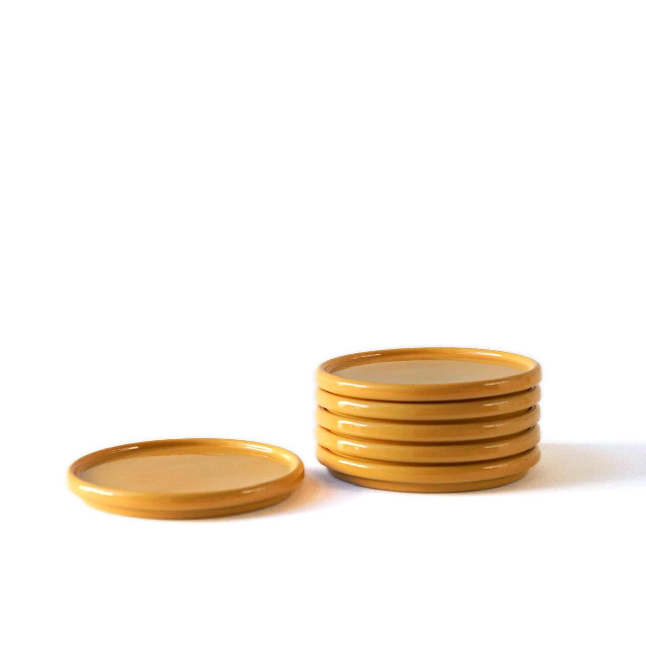 Indre Ceramics Late Summer Yellow Teller/ Deckel Mini