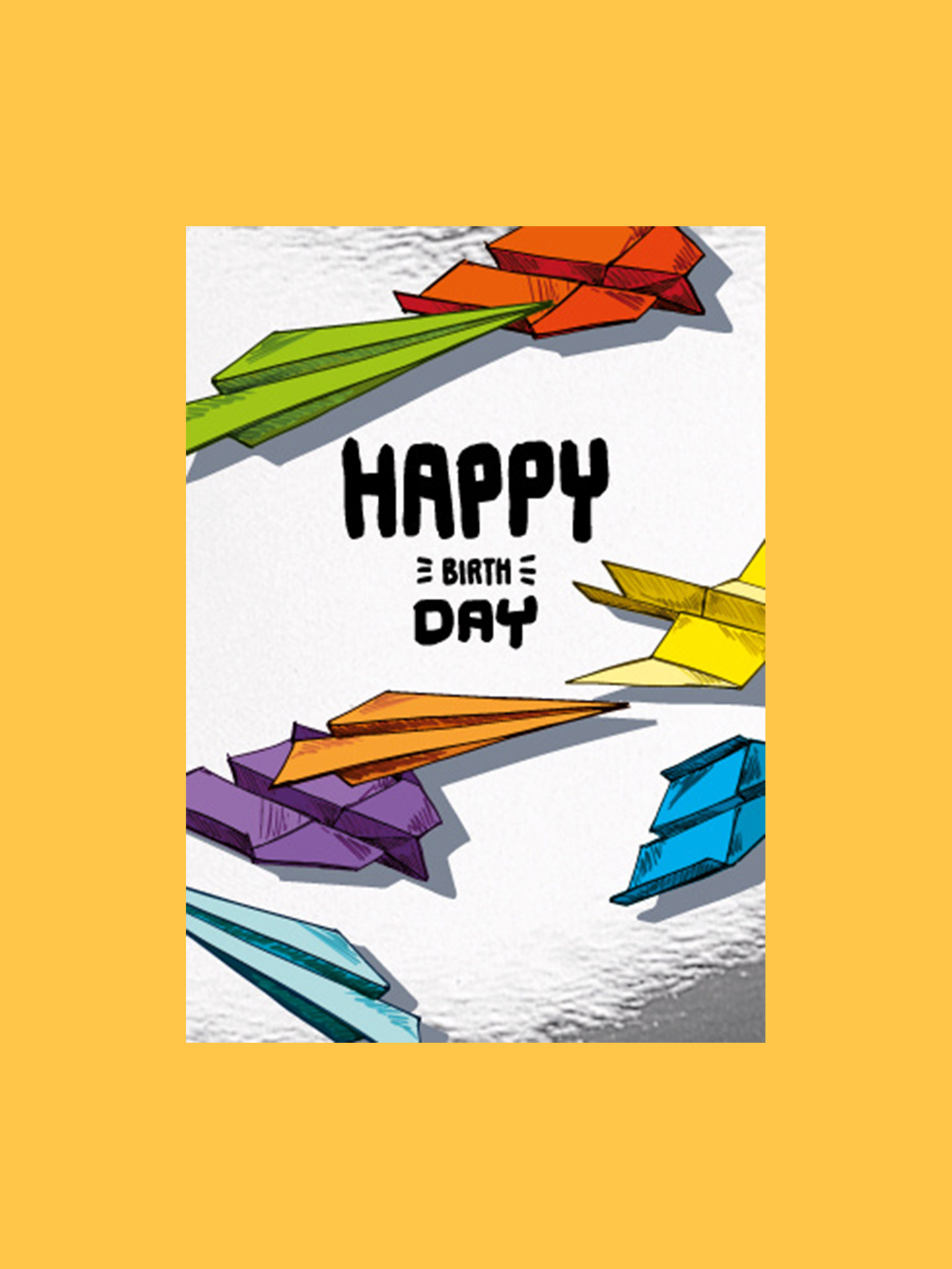 Postkarte Happy Birthday Papierflieger