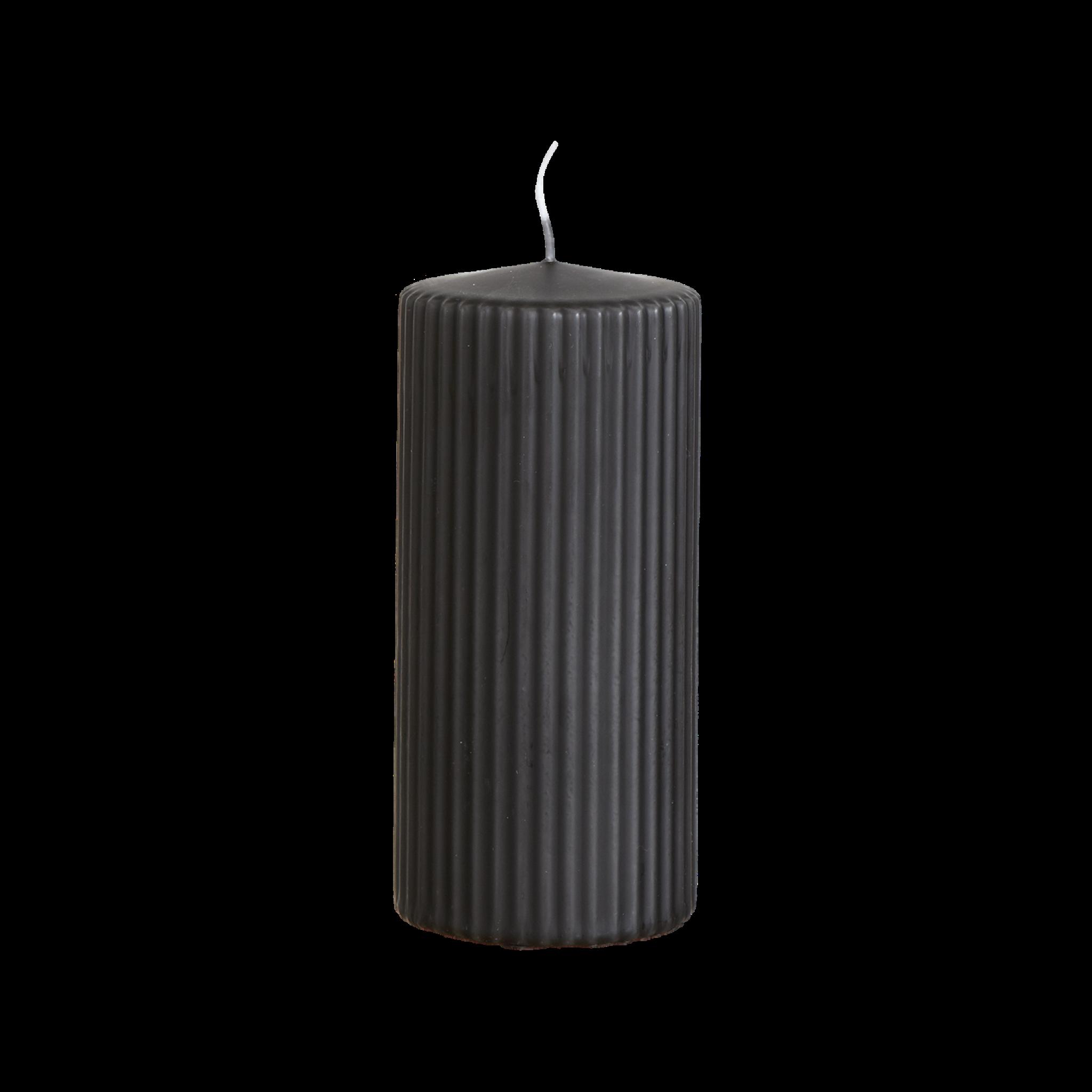 Blockljus Rill 15cm - kolgrå