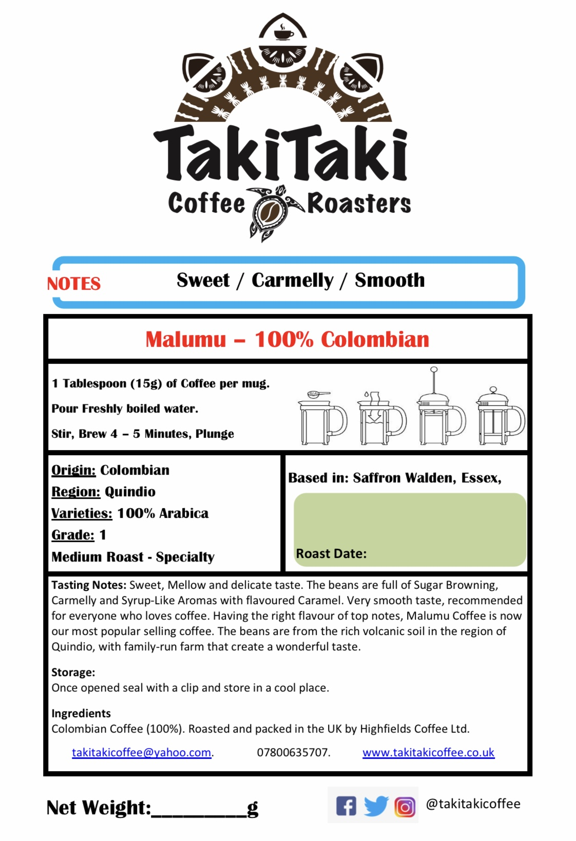 Malumu - 100% Colombian Specialty - Beans 500g