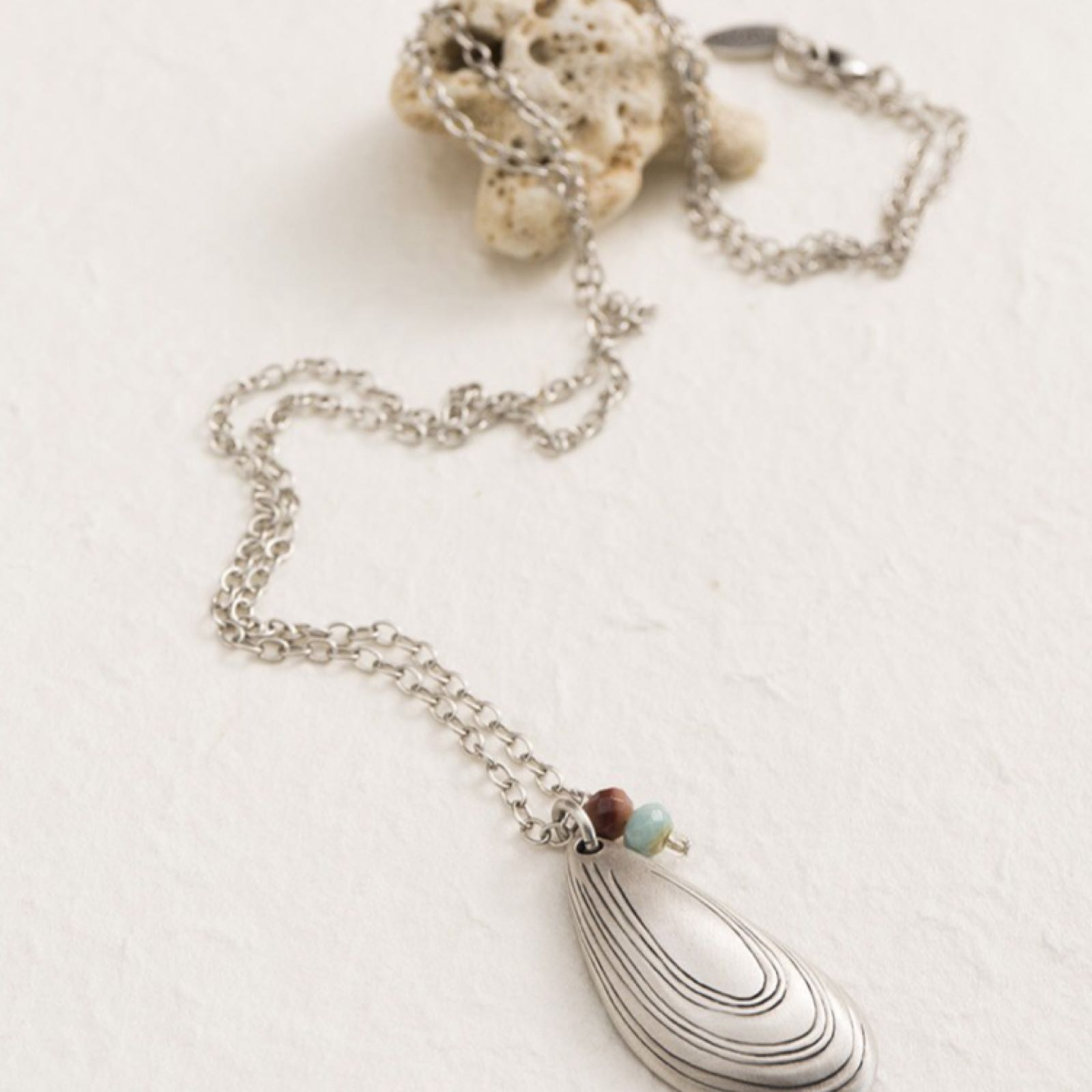 Danon long mussel shell necklace was £62.50