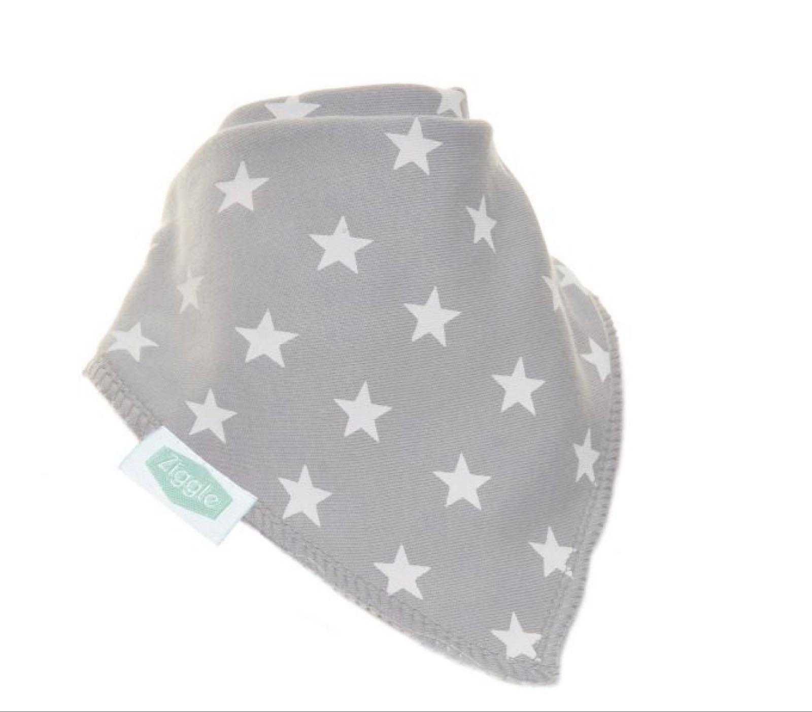 Ziggle Grey with White Stars Bandana Bib