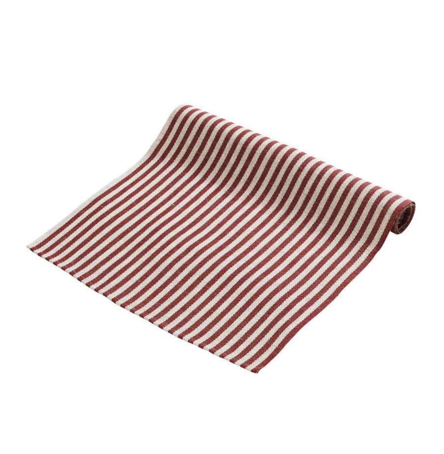 Løper i vevet lin, med striper i rød og naturhvit