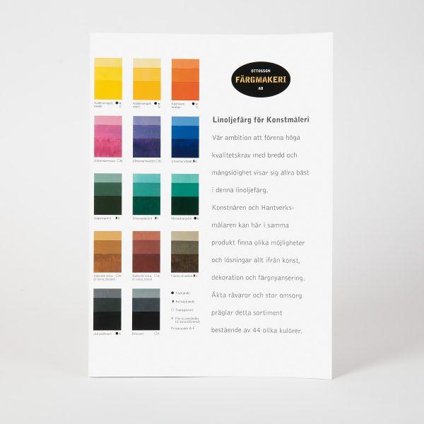Fargekart Linoljemaling for kunst Olje