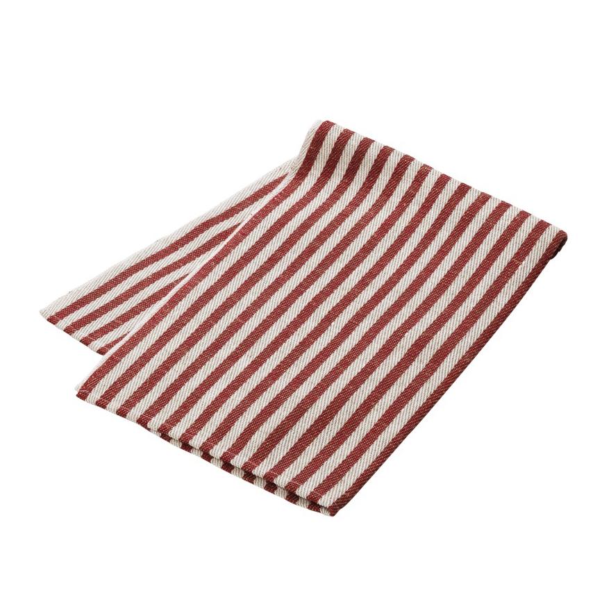 Kjøkkenhåndkle (Duk) i vevet lin, med striper i rød og naturhvit