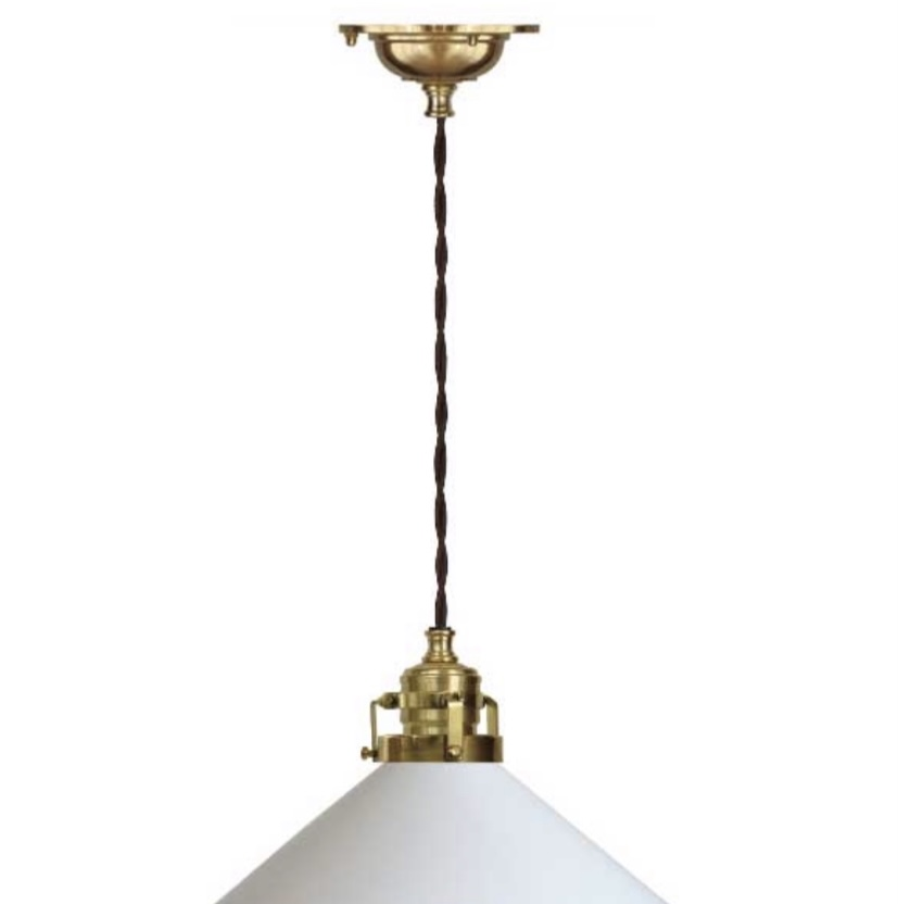 Skomakerlampe i polert messing med brun tvunnet tekstilkabel