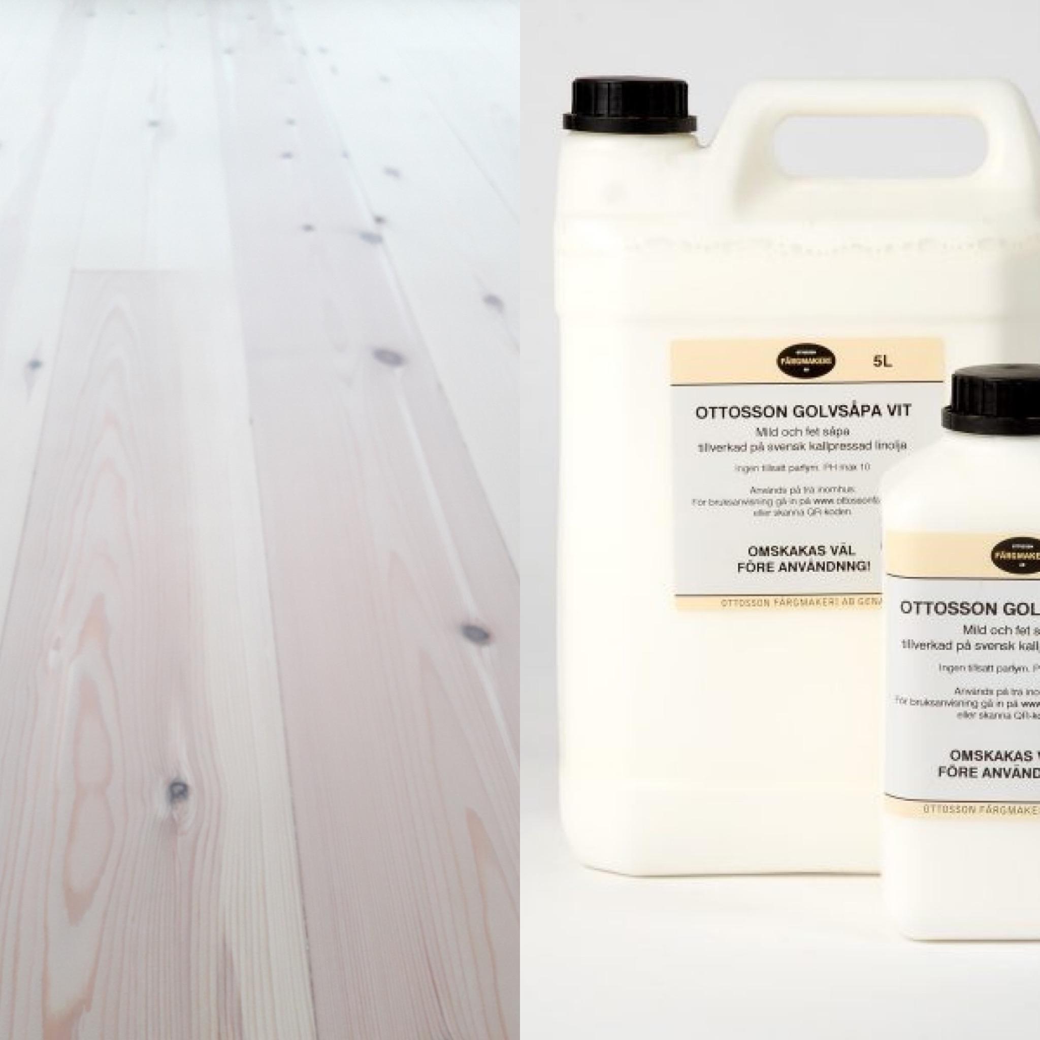Linoljesåpa med hvitpigment, for gulv