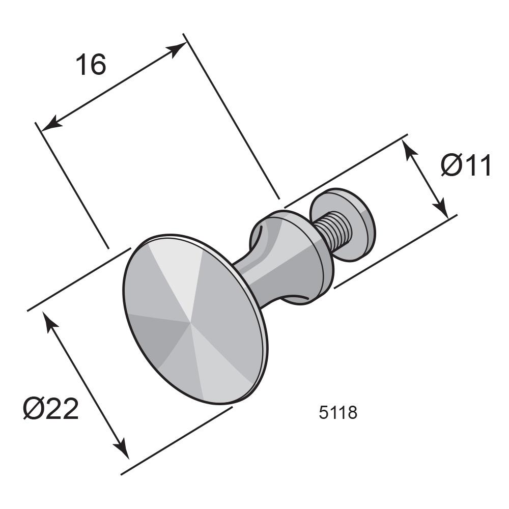 Skap/skuffknott 5118 Messing