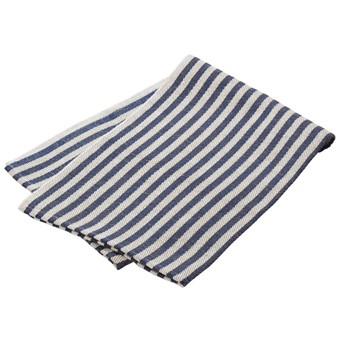 Kjøkkenhåndkle (Duk) i vevet lin, med striper i blå og naturhvit