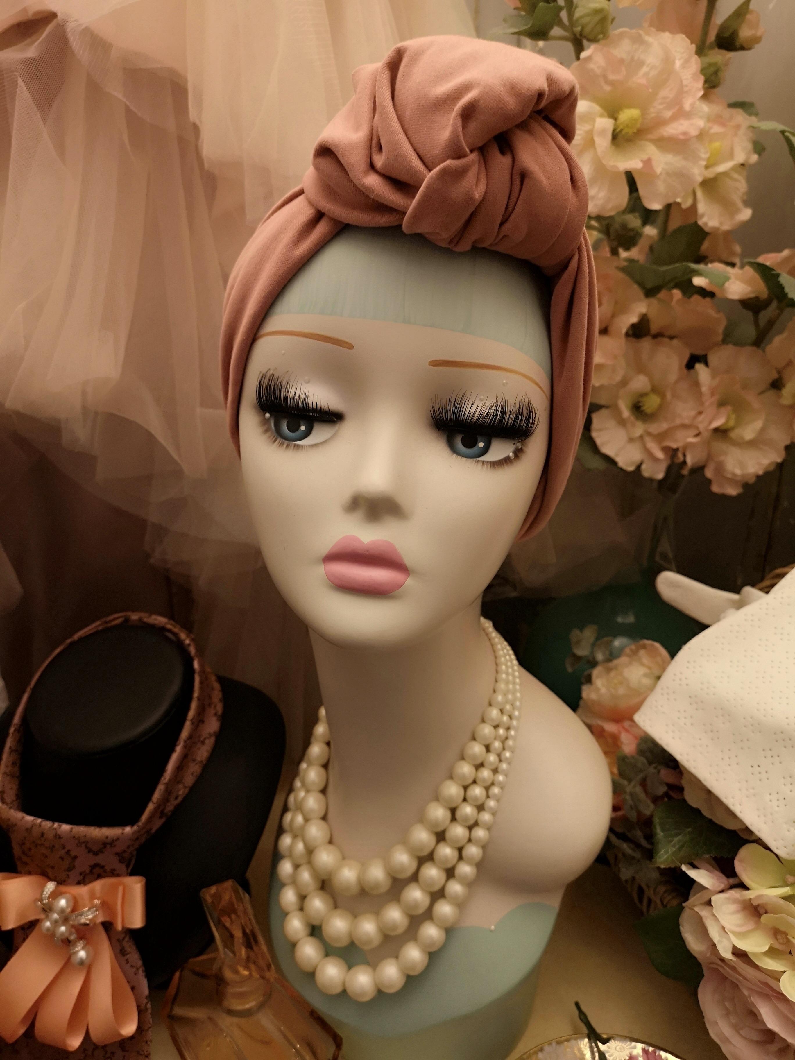 Rosa vintagestyle turban