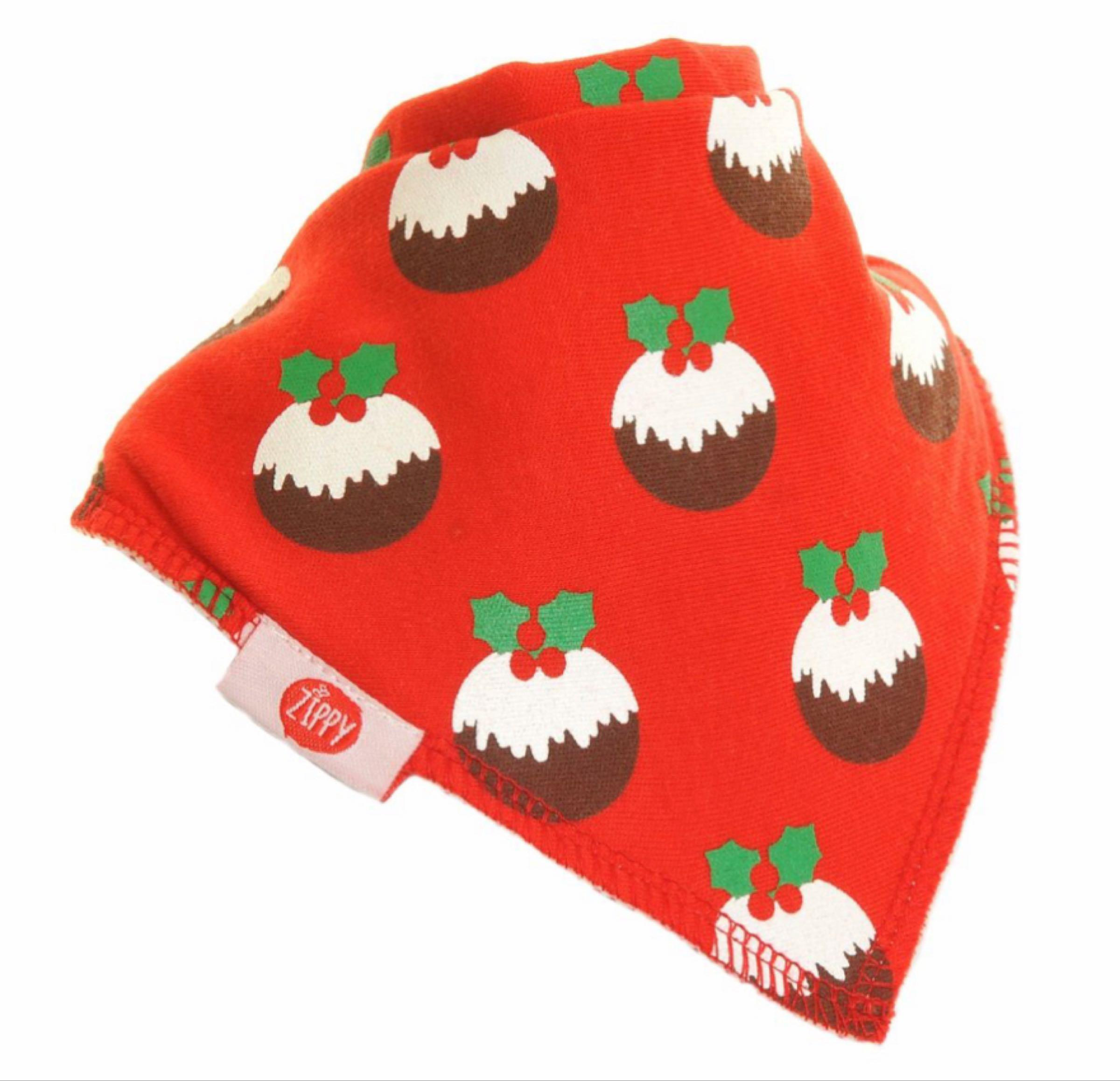 Ziggle red Christmas pudding bandana bib