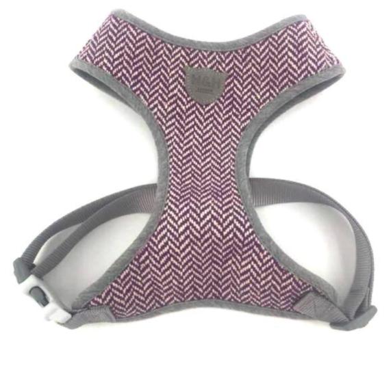 Purple Herringbone Dog Harness