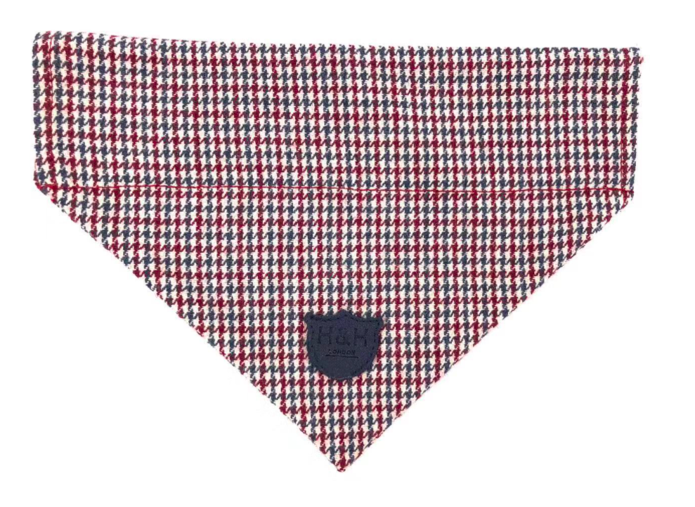 Red and Blue Houndstooth Dog Bandana