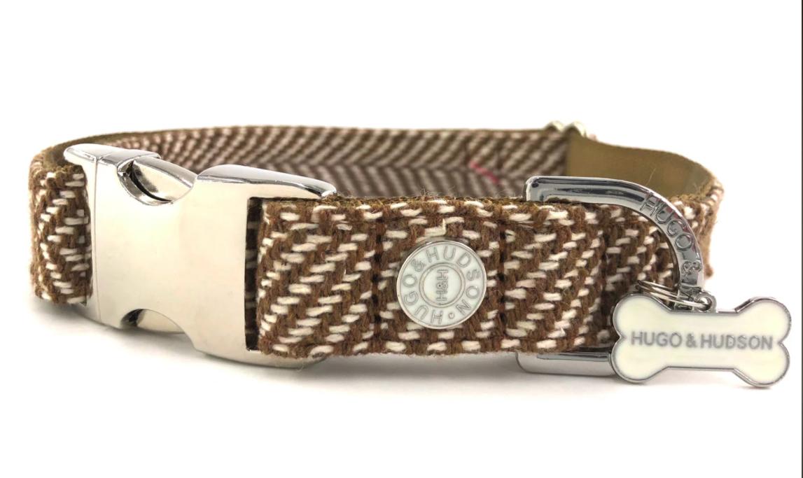 Brown Herringbone Tweed Dog Collar
