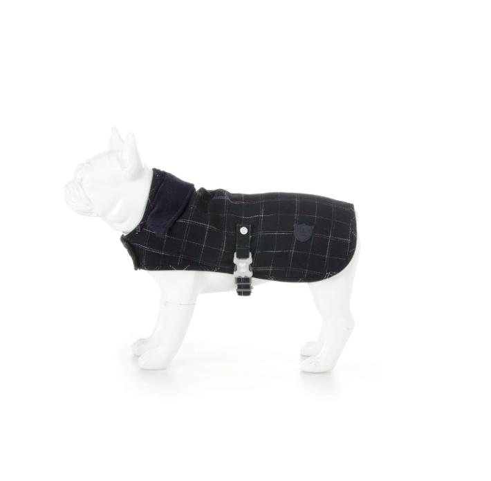 "Checked Tweed Dog Jacket ""Medium Blue ""48"""