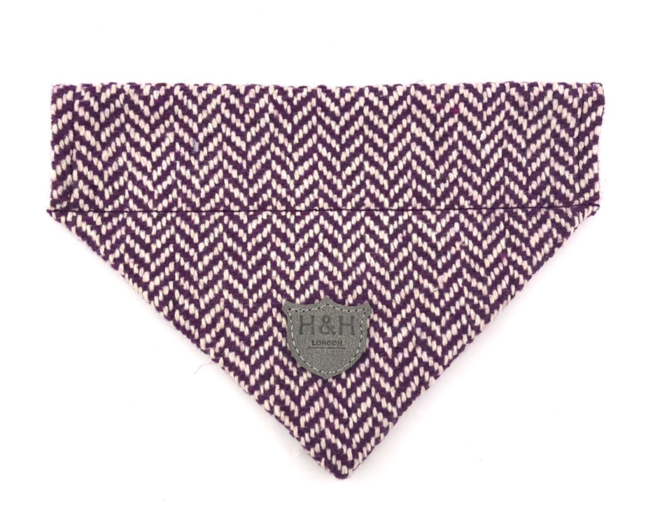 Purple Herringbone Dog Bandana