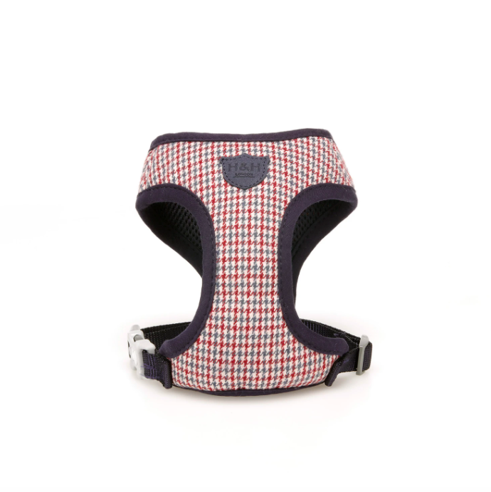 Red White Blue Houndstooth Dog Harness