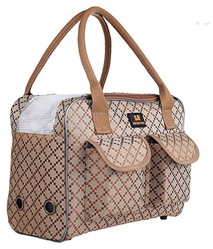 BETOP HOUSE Pet Dog Puppy Cat Kitty Carrier Tote Travel Handbag Khaki Checks Pattern