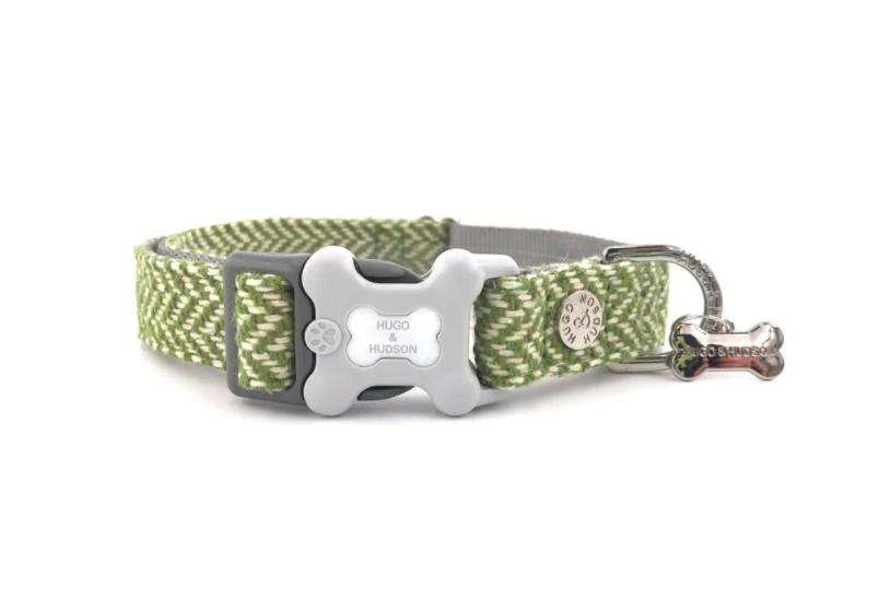 Sage Herringbone Plastic Buckle Collar