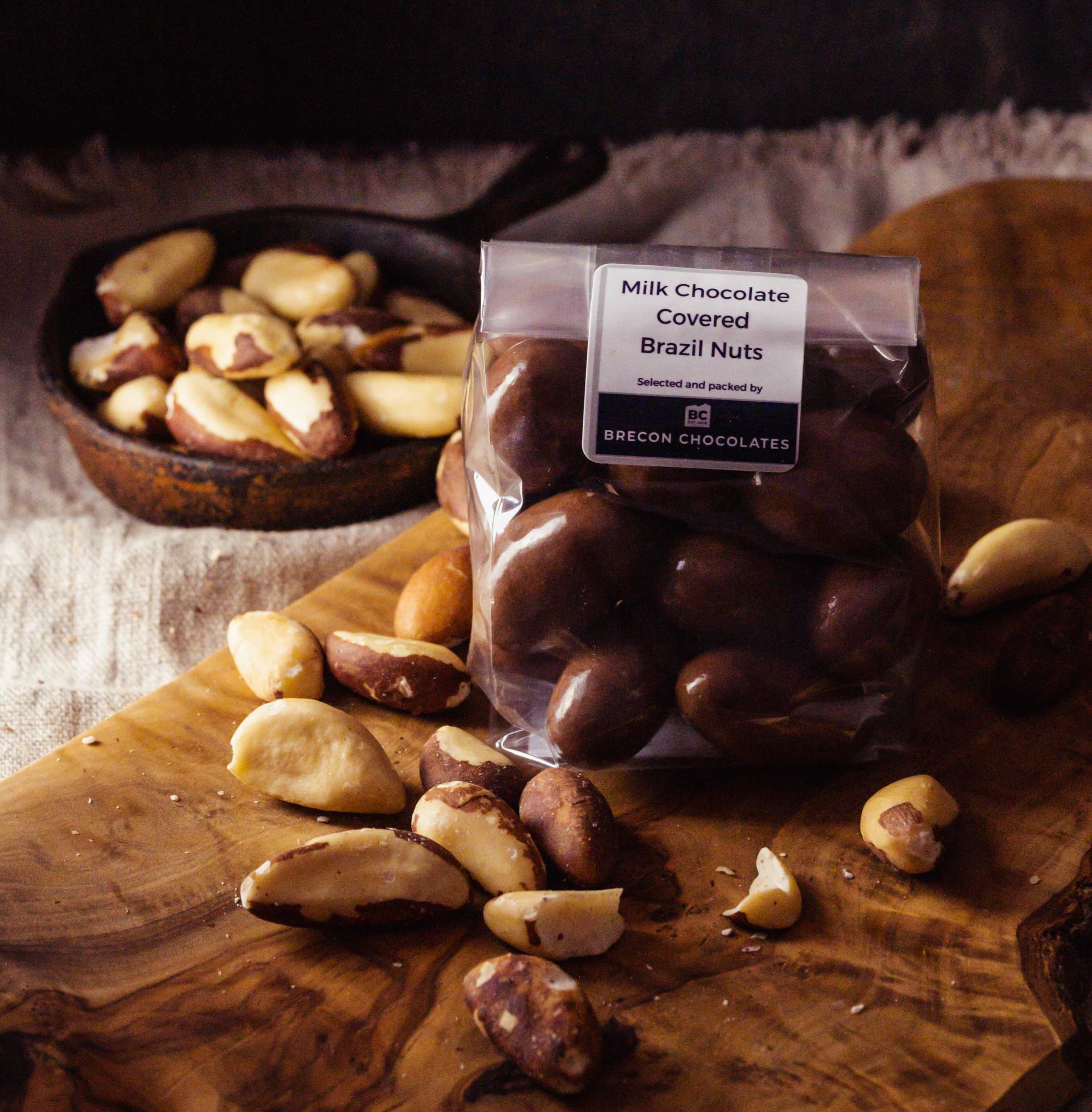 Milk Chocolate Covered Brazils Nuts. 200g bag.
