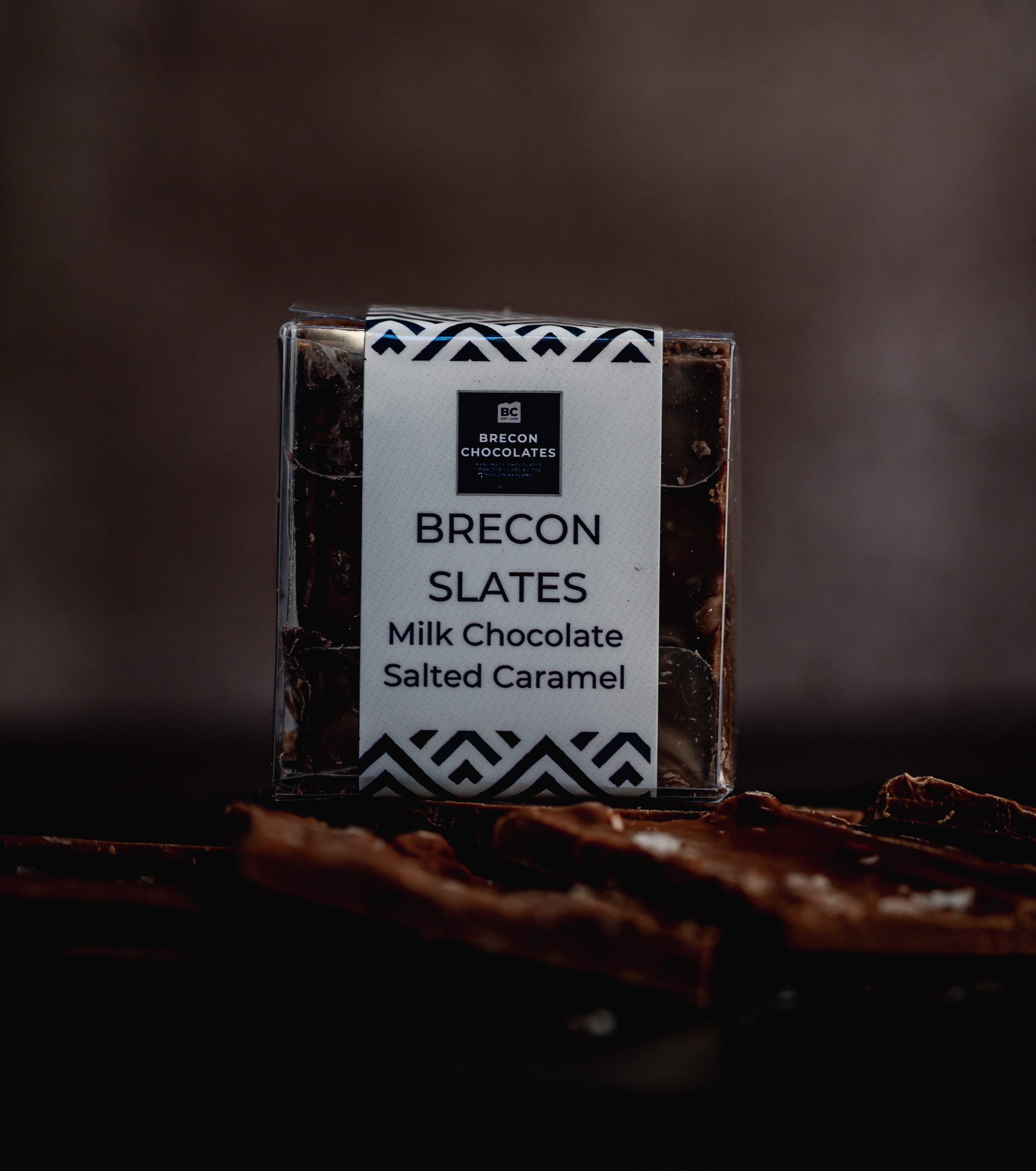 "Brecon Chocolates ""Slates"". Milk Chocolate Salted Caramel."