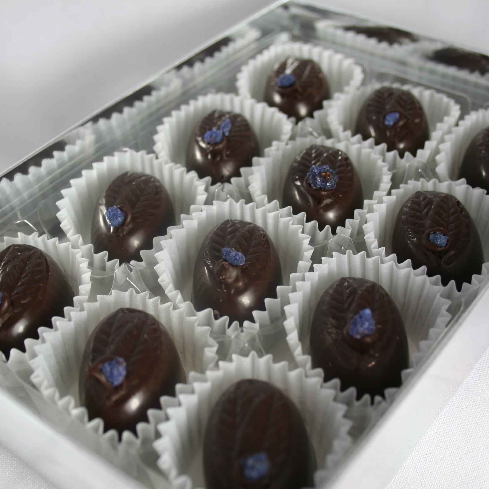 Violet Fondant Creams. 12# Dark Chocolate.