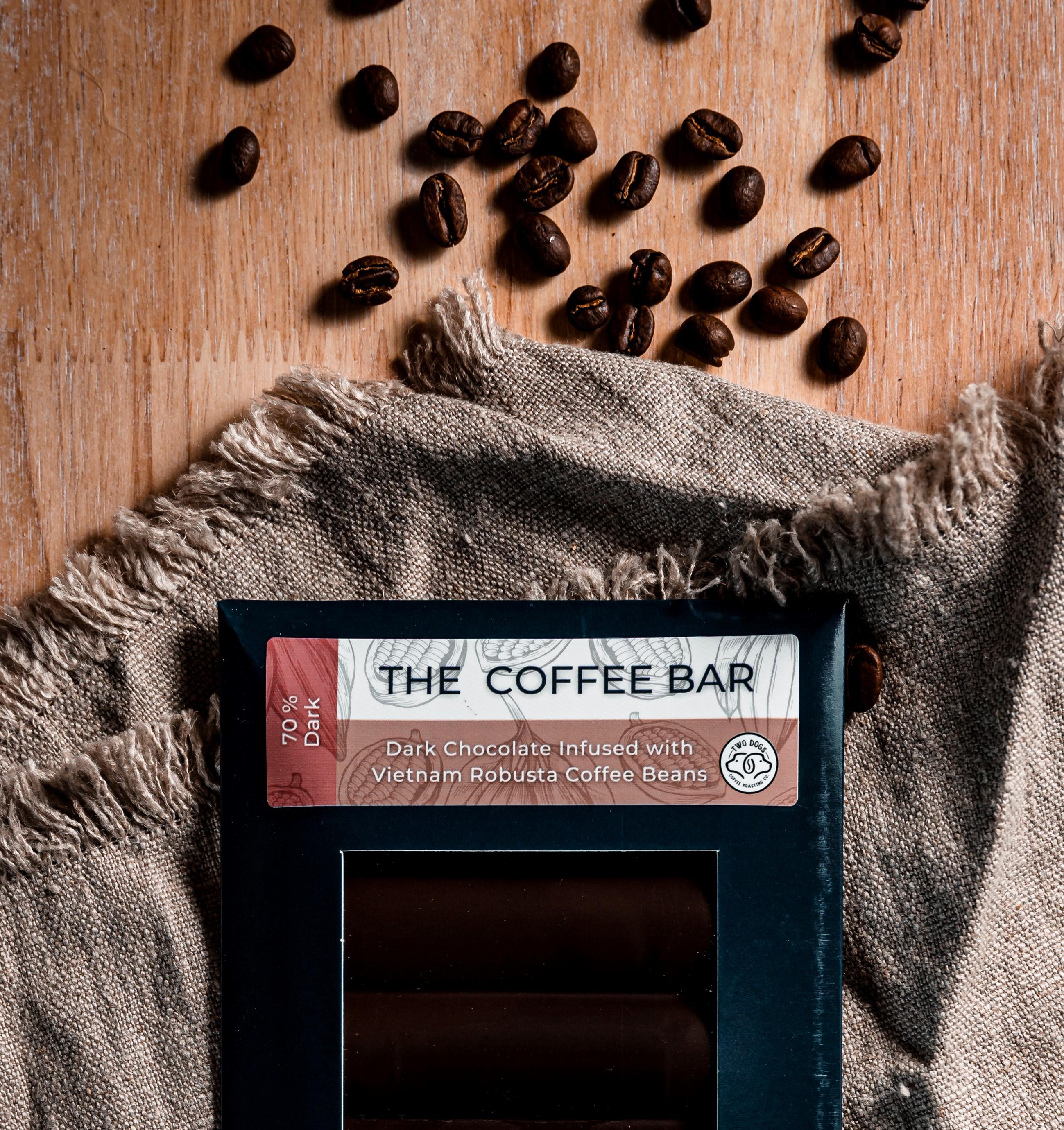 70% Dark Chocolate Coffee Infused Bar.