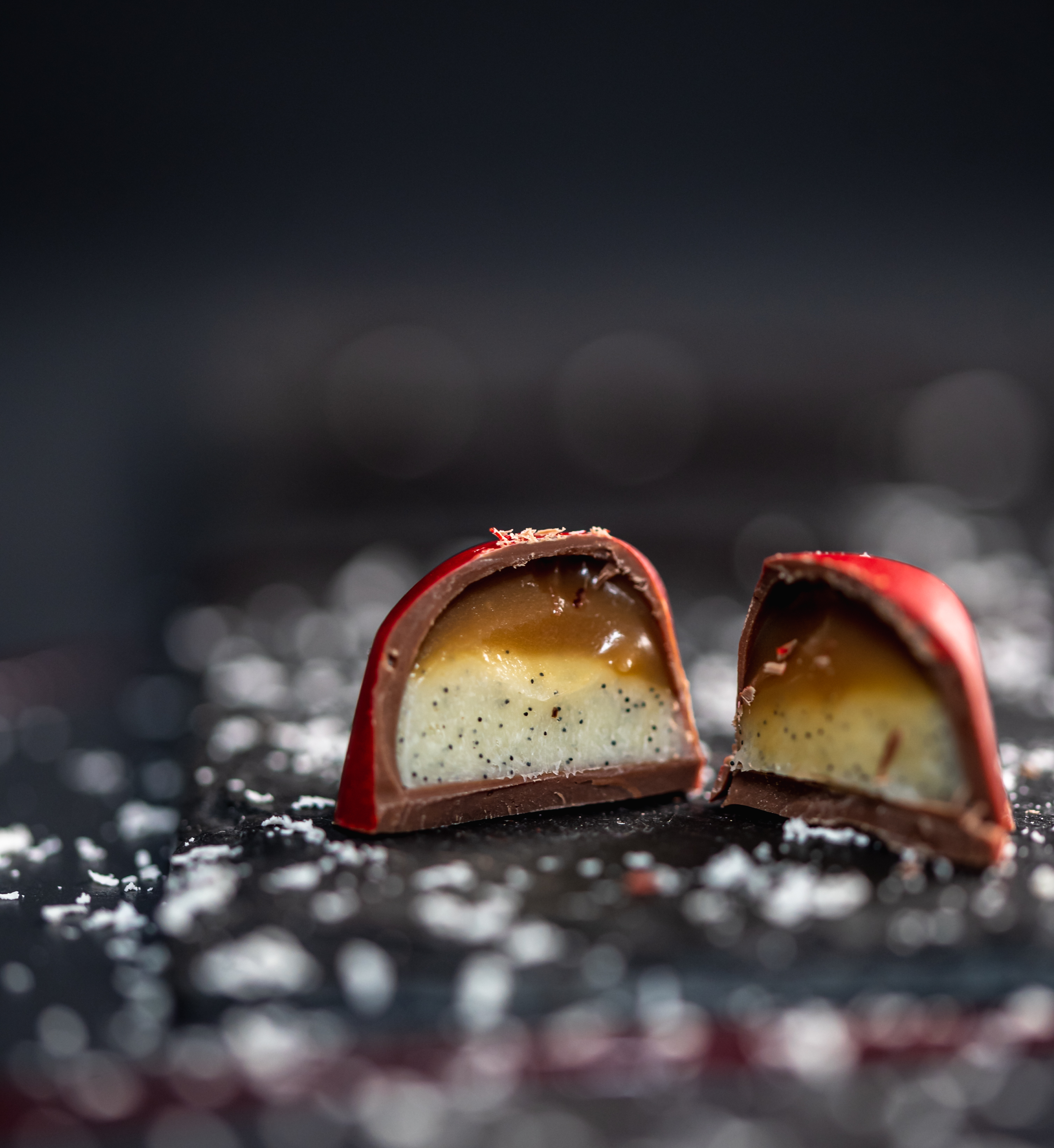 8 Milk Chocolate Raspberry caramels & 4 Milk Chocolate Passionfruit and vanilla hearts