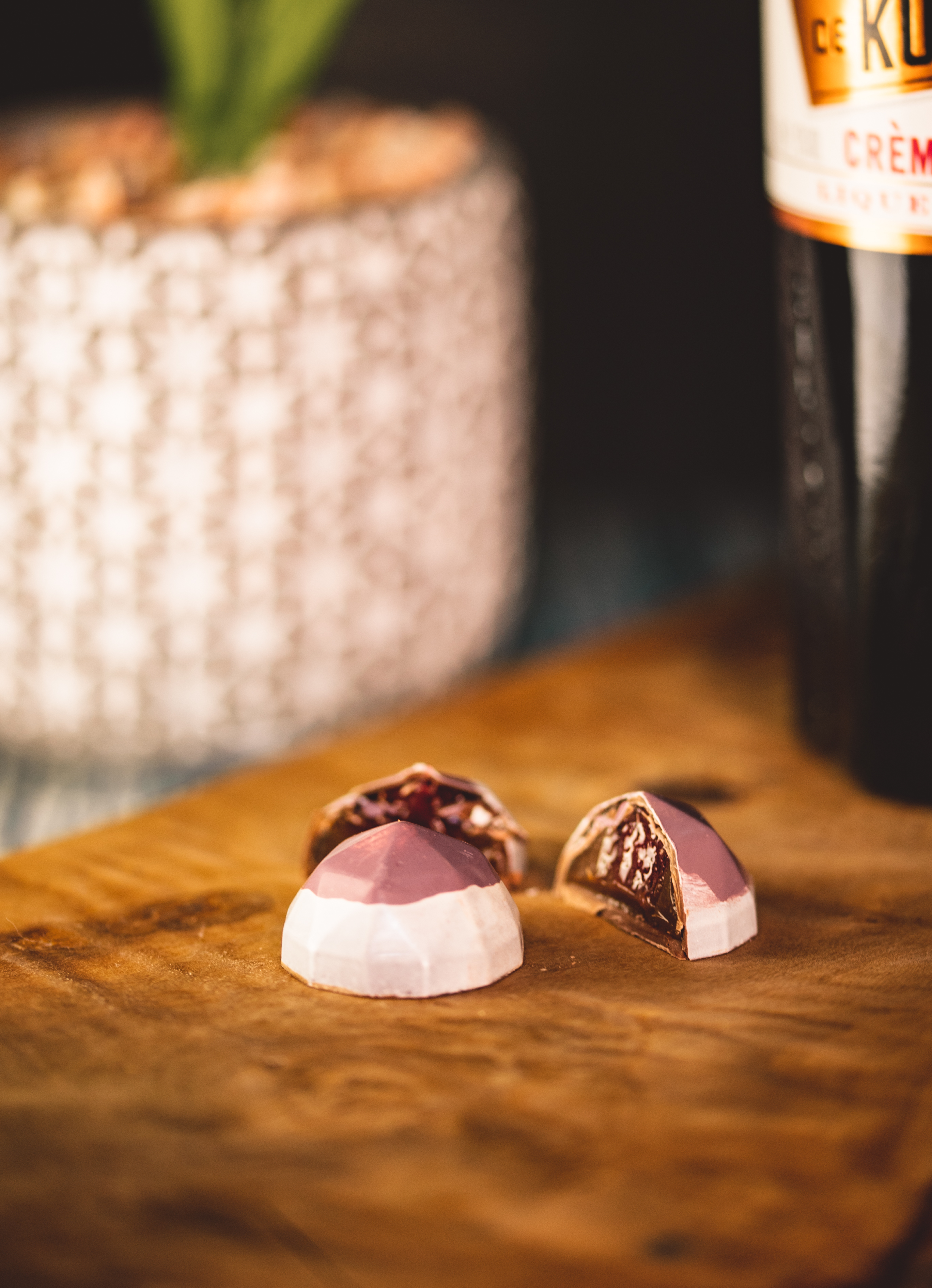Kir Royale (Contains alcohol) Milk Chocolate Marc de Champagne with blackcurrant gel.