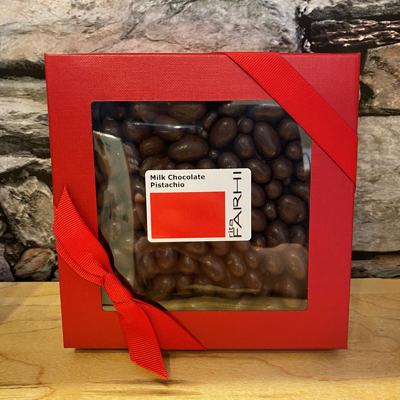 REDUCED Milk Chocolate Pistachios (net 210g) - Farhi