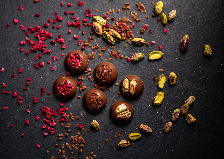 Milk Chocolate Pistachio, Caramel and Raspberry Crumb  Moments.