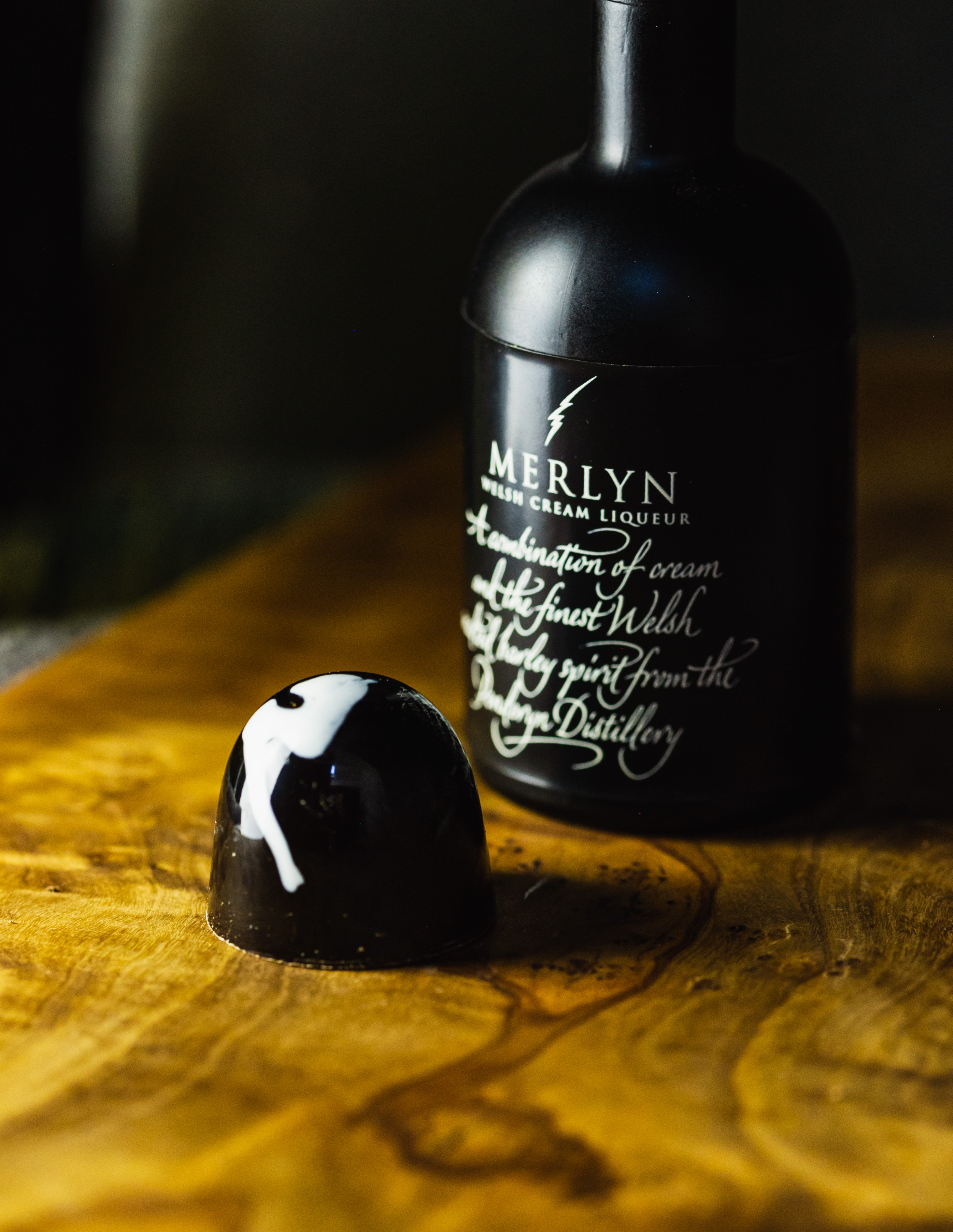 Dark Chocolate Merlyn (Wales' answer to Baileys) Liqueur BonBon.