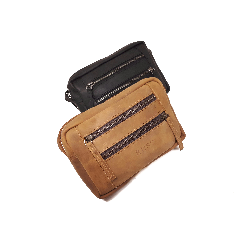 Crossbody 3-Zip Shoulder Bag Buff