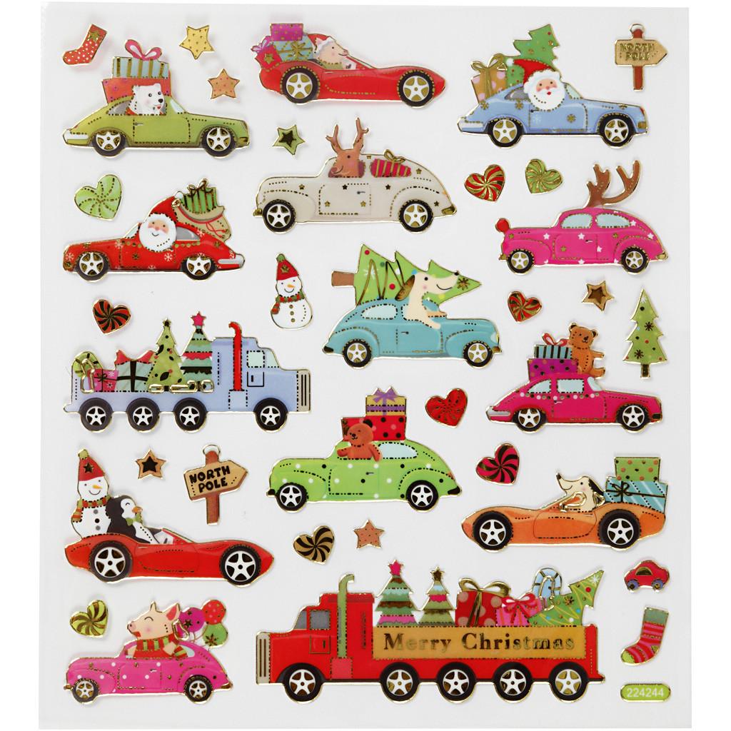 klistremerker/Stickers, Kjører Hjem Til Jul, 15x16,5 cm, 1 Ark